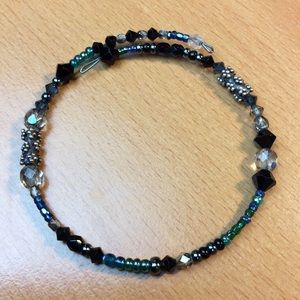 New Sweet Blue and Black Bead Bracelet